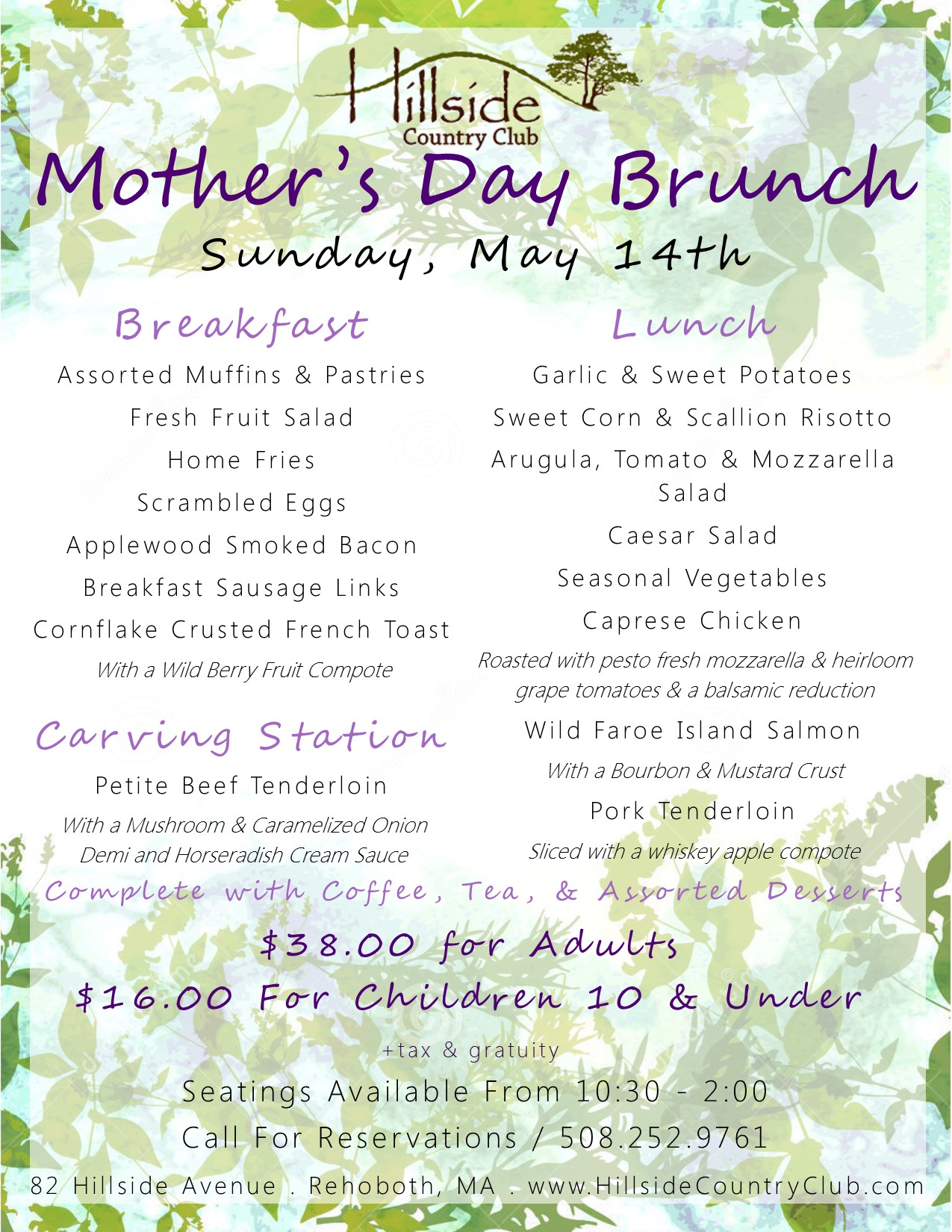 Mothers Day Menu 2017