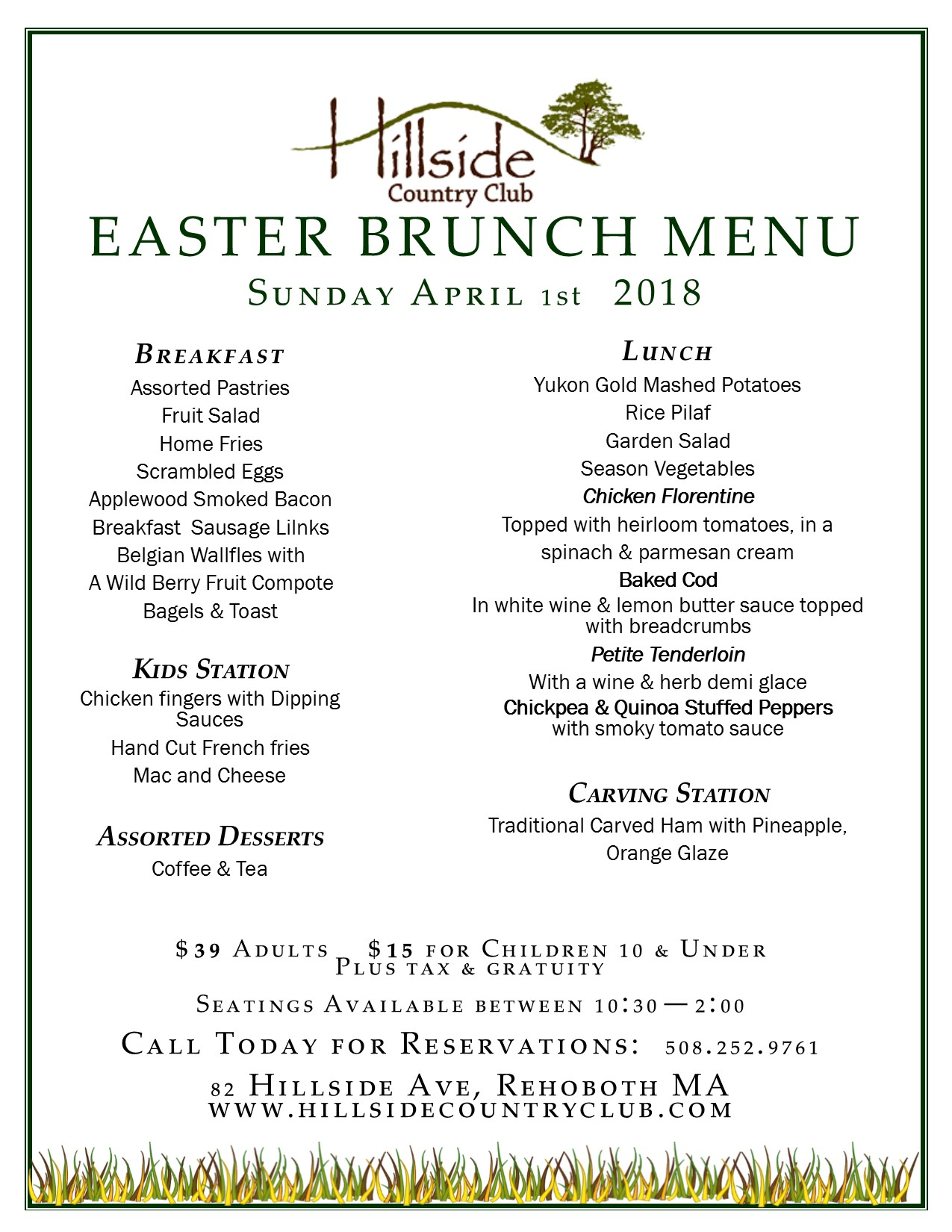 Hillside country club rehoboth ma for Easter brunch restaurant menus